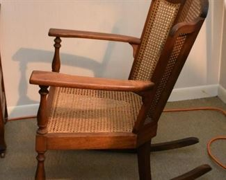 Vintage Rocking Chair / Rocker with Cane Back & Seat