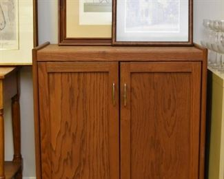 Oak Cabinet / Bar with Casters