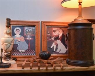 Table Lamps, Framed Prints, Black Mexican Pottery