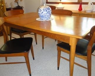 Danish Modern, Lane, Table w/6 chairs, matching cabinet, Dining room lamp for sale also.
