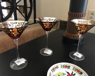 Dainty gold-guilted martini glasses