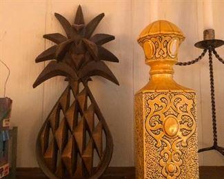 teak pineapple, magic bottle containing one genie
