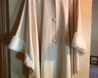 authentic fur cape coat Joan Holloway style
