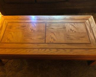 wood parquet coffee table