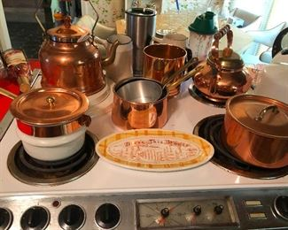 copper pots, kettles, teapots (Hansel and Gretel were not cooked in these)