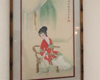 gorgeous Japanese painting of a woman super happy in her solitude