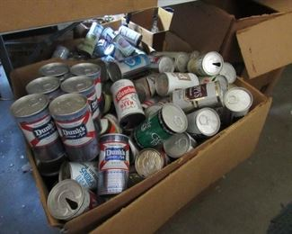hundreds of collectible beer cans