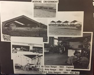 These Photos in the Personal Library of our Veteran a WWII, Korean & Vietnam Veteran Cherished for Years. Working Environment, U.S. Air Corps Hangar 1943 England, U.S. Army Hangar 1957 Japan, U.S. Army Hangar 1964 Viet Nam