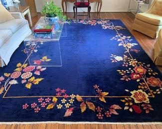 antique Art Deco Chinese rug--wool, hand knotted, 10 x 13