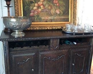 Ornate sideboard wine station
