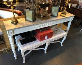 Classical console, faux top. Caned Regence style painted bench.