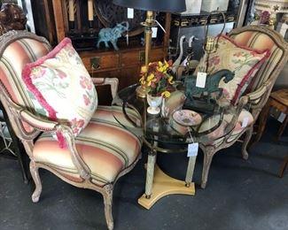 Pair painted fauteuils