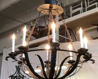 Large 8-light wrought iron chandelier.