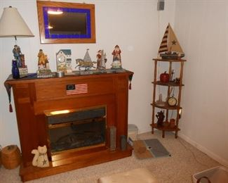 Freestanding fireplace basement