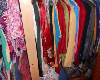 Tons of ladies clothing sizes 1 X to 4X, many many new items all over the house.