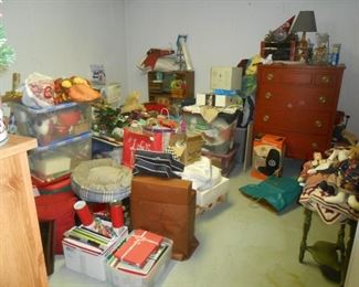 Many holiday items, chest of drawers etc