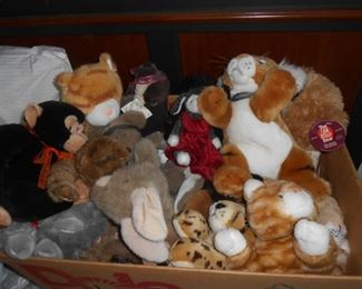 Many stuffed animals from the Zoo