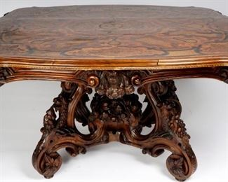 19th C French Carved Micro Mosaic Marquetry Table
