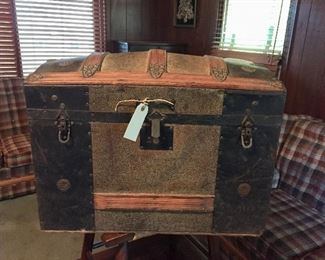 Antique trunk with original key and owners name in bottom