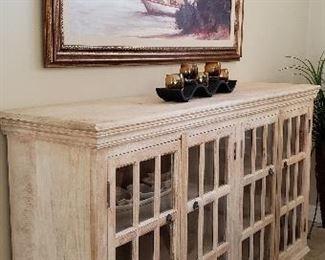 Large whitewash, 4 door, 2 shelf dining room credenza.