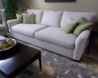 Nebraska furniture white sofa, in excellent condition! Sage corner chair not for sale. Drexel coffee and side table