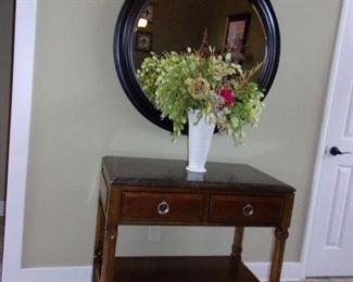 Bernhardt 2 drawer entry table! Round beveled edge table!