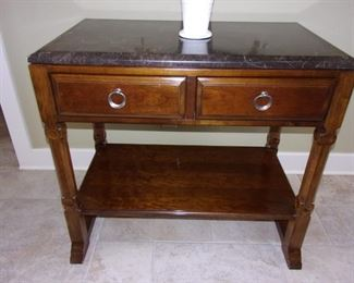 Bernhardt dual drawer entry/hall table with marbling top and lower storage shelf!