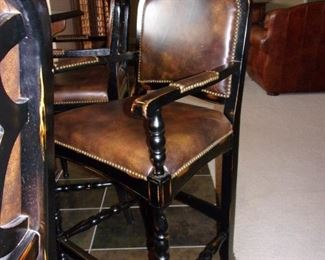 Leather Spectator chairs x 3  with nailhead trim perfect for any bar/family room/game room!