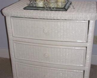 White wicker 3 drawer dresser.