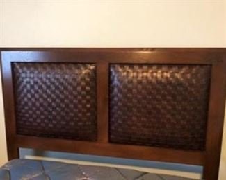 Queen head, foot board and side rails with woven leather accent. Simmons Queen double pillow top mattress and box springs.