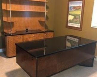 Stunning Drexel Heritage Walt Disney Signature Collection Executive Desk with Beautiful Black Granite top and custom wood design....Matching Credenza with Hutch/bookshelf! One of a kind! Asking $1,000 obo....call Jennie 816-726-2696 Mover available for $300