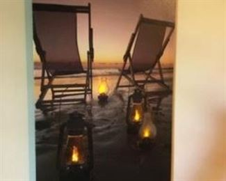 Beautiful beach scene picture...actually lights up!