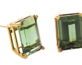 4. Tourmaline and 14 Karat Yellow Gold Earrings