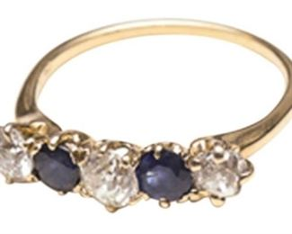 6. Diamond and Sapphire 5 Stone Ring