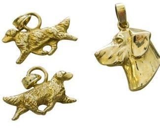 14. Three 3 14 Karat Gold Pendant Charms in a Dog Motif