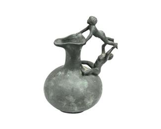 15. Bronze Ewerwith Figural Handle
