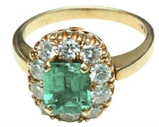 16. Emerald and Diamond Dinner Ring