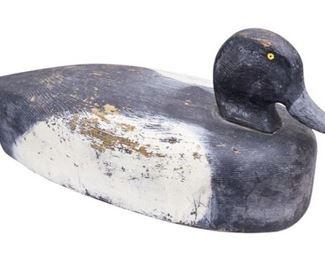 19. Bluebill circa 1915 Vintage Wooden Decoy Duck