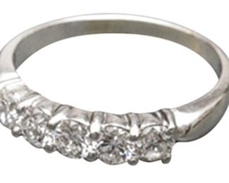 25. 18K White Gold and Five Diamond Ring