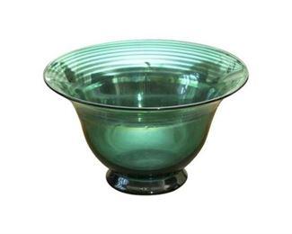 26. Green Art Glass Center Bowl