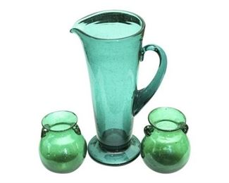27. Vintage Green Glass Water Pitcher and Two Vases