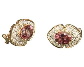 28. Pair of 14 K Gold Ruby Diamond Earrings