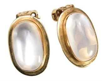 30. Pair 14 Karat Yellow Gold and Cabochon Moonstone Earrings