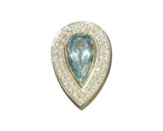 36. Aquamarine And Diamond Pendant