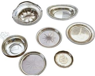43. Lot Vintage Sterling Silver Trays, Coin Dish, Wine Bottle Coasters