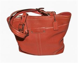 44. Red Leather Womans COACH PurseHandbag