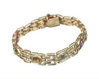 47. 14 Karat Gold and Semiprecious Stone Bracelet