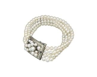 48. Multi Strand Pearl Bracelet with Silver Metal Clasp