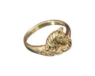 50. 14 Karat Ring with Horse Motif