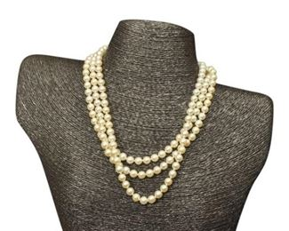 59. Triple Strand Pearl Necklace with Sterling Silver Clasp